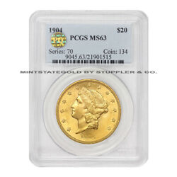 1904 20 Gold Liberty Head Double Eagle Pcgs Ms63 Pq Approved Choice Graded Coin