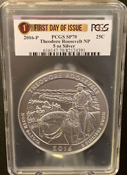 2016-p Atb Silver 5 Oz. Theodore Roosevelt Np Pcgs Sp70 First Day Issue