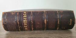 Large Antique 1800s Illustrated Holy Bible Leather Bound