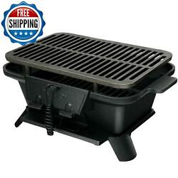 Outdoor Bbq Charcoal Grill Barbecue Stove Heavy Duty Cast Iron Tabletop Camping
