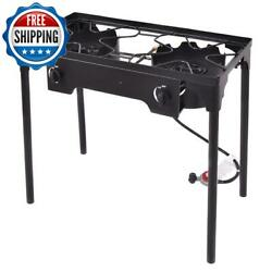 Outdoor Bbq Gas Grill Barbecue Stove 2-burner Heavy Duty Cast Portable Camping