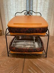 Longaberger Wrought Iron Paper Tray Stand W/ 2 Baskets, Lid, Liners And Protectors