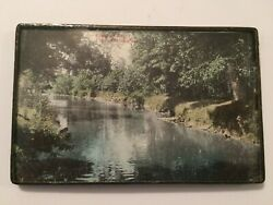 Antique 1909 Framed Photo Of The Clinton River Utica, Michigan Real Photo Rppc