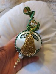 Vintage Beaded Jeweled Christmas Ornament Exquisite Design Mint 6 Tub10