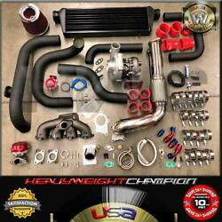 Red D15b D15z Civic Sohc Lx Dx Ex Bolt-on Turbo Kit T3/t4 Keep Ac Pw 245hp@10psi