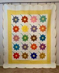 Vintage Farmhouse Quilt Handmade Hand Quilting And Appliqué Flowers