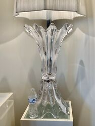 """Huge Mid Century Glass Art Lamp Luxe 43"""" Tall With Original String Shade"""