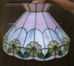 Vintage Large Pink White Slag Style Plastic Yellow Floral Parlor Lamp Shadefc