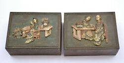 1900and039s Chinese 2 Brass With Inlay Inlaid Lady Figure Figurine Box