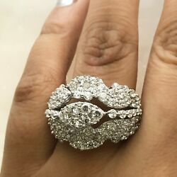 Ladies 14k Gold 3.03 Ct Genuine Diamond Cluster Engagement And Wedding Band Ring