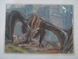 2021 Hbo Game Of Thrones Dragon Color Sketch 1/1 By Faustino