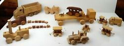Large Lot Of Vintage Wooden Cars, Toys, Trucks Trains Misc Toys Large Wood Truck