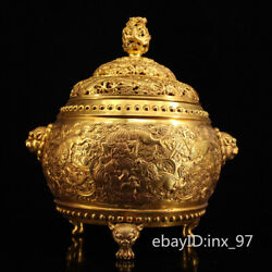 11.2 China Collection Tang Dynasty Pure Copper Gilt Seiko Lion Incense Burner