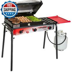 Portable Barbecue Bbq Gas Grill 3-burner Stove Cast Iron Outdoor Camping Cooking