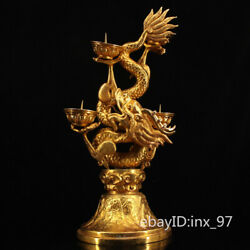 18.2 China Collection Old Pure Copper Handmade Gilt Panlong Pull Table Oil Lamp