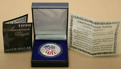 1999 Usa American 1 Ounce Silver Eagle Lady Liberty Colorized Dollar With Case