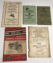 Lot Of 5 Vintage Ariel Motorcycle Owners Hand Book Guide Price List Parts