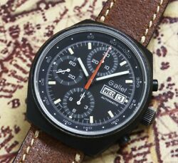 Gallet Chronograph Watch Automatic Day Date Cal.7750 Black Coating Vintage Auth