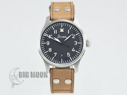 Stowa Flieger Logo And Date Black Dial Stainless Men 40mm Self-winding 5atm Watch