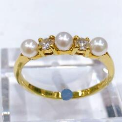 Authentic And Co. Ring K18 Diamond Pearl Us Size 6.5 Eu52 Ladies Accessory