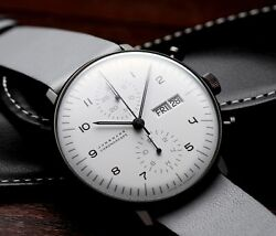 Junghans Max Bill Chronoscope Men's Watch Automatic Winding Leather Round Shape