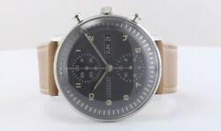 Junghans Max Bill Chronoscope Chronograph Watch Menand039s Leather Round Shape