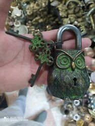 Extremely Ancient Antique Victorian Rare Old Owl Lock And Key Engraved