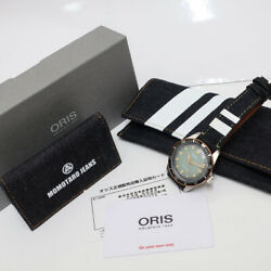 Auth Oris Watch Divers 65 Momotaro Jeans Special Model Ss Green Automatic Menand039s