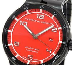 Porsche Design Flat Six P6350 Watch Menand039s Automatic Ss Black Red Dial 6350.43