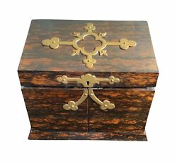 19th Century Traveling Letter Writing Box Coromandel, Satinwood And Brass