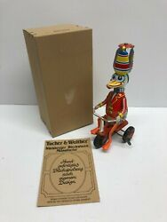 Duck Riding Tricycle Tin Litho Wind Up Toy Tucher And Walther