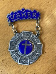 Antique 1800and039s Church Usher Badge Brooch Blue Glass Enamel Silver Vintage Cross