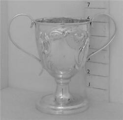 246 Antique 1835 English Sterling Silver Trophy Loving Cup Repousse Decoration