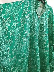 Vermont Country Store Leisure Life Cotton House Dress Mumu One Size Plus Green