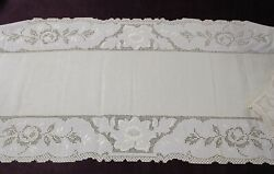 Antique Pair Matched Linen Table Runners Drawnwork And Embroidery Acanthus Leaf