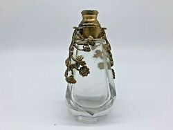 Antique Collectible French Brass Etched Crystal Perfume Bottle Without Stopper