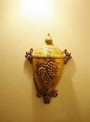 Vintage Large Burwood 3-d Wall Art Grapevine Wall Mounted Wine Cask With Spigot,