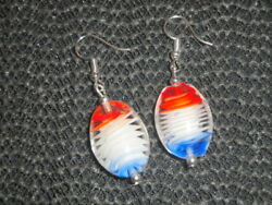 Individual Large Single Oval Red White Blue Blown Crytal Glass Drop Earrings