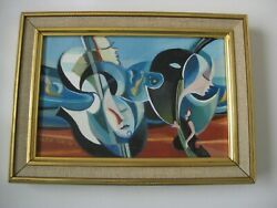 Alex Grig Oil Painting Music Theme Cello Surrealism Expressionism 1970and039s Blue