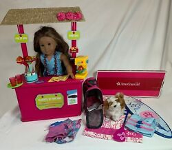 American Girl Kanani Doll Shave Ice Stand Barksee Dog Surf Board Pet Carrier And M