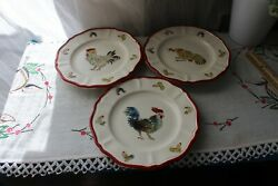 3 Sur La Table Jacques Pepin Collection Rooster Chicken Salad Desert Plates