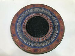 Vintage Mexican Mayan Aztec Calendar Clay Pottery Charger, 15 3/4 Diameter