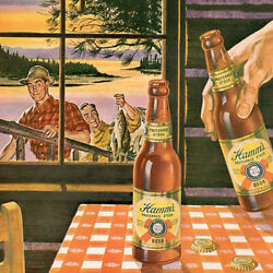 Vintage Hamms Beer After Fishing Advertisement Reproduction Metal Sign