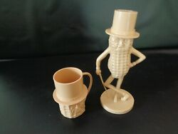 Vintage Planters Mr. Peanut Set Of Bank And Cup - Tan