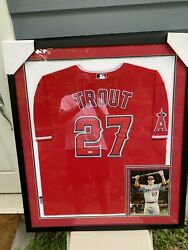 La Angels 27 Mike Trout Signed Autographed Framed Baseball Jersey Mvp Holo