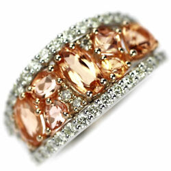 Rare K18pg/pt950 Imperial Topaz Diamond Ring T1.70ct D0.75ct - Auth Selby_japan