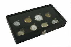 Pocket Watch Show Case Display Antique Jewelry Supply Glass Top