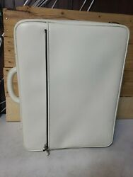 Vintage Valextra Leather Travel Carry-on Rolling Suitcase Luggage Ivory