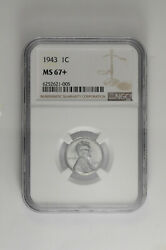 1943 S 1c Lincoln Steel Wheat Cent Ngc Ms 67+