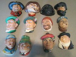 Vintage Lot Of 12 Bosson / Chalkware Hanging Heads Wall Art